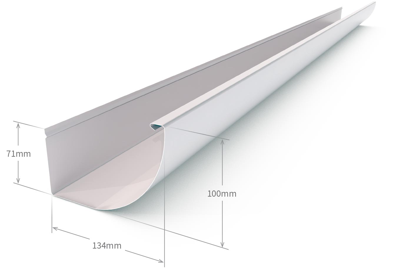Quarter Round Gutter Slotted Armour Grey