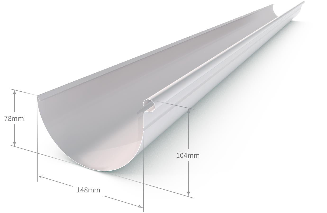 Half Round Gutter Zinc Aluminium