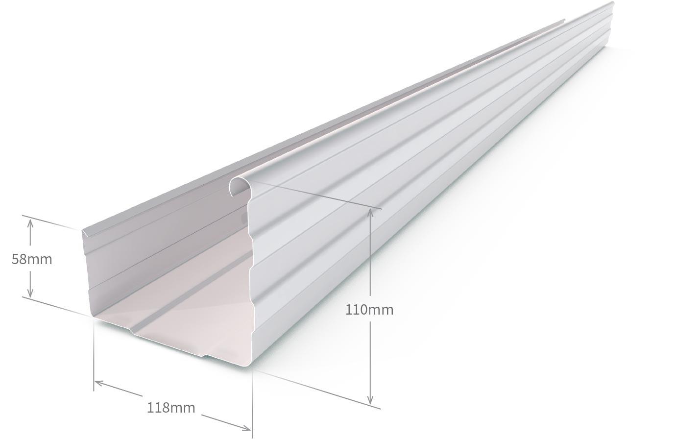 Lo Square Gutter Slotted Zinc Aluminium