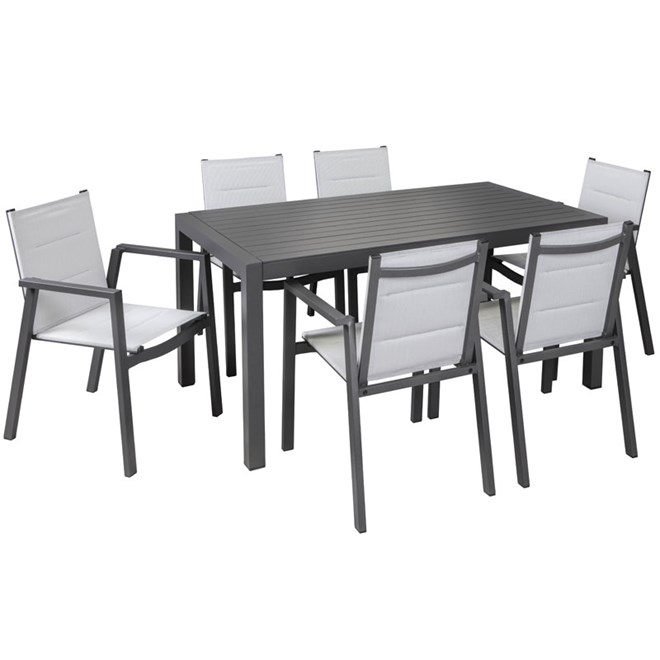 Madrid 7 Piece Dining Setting With Sling Chairs And Slat Table