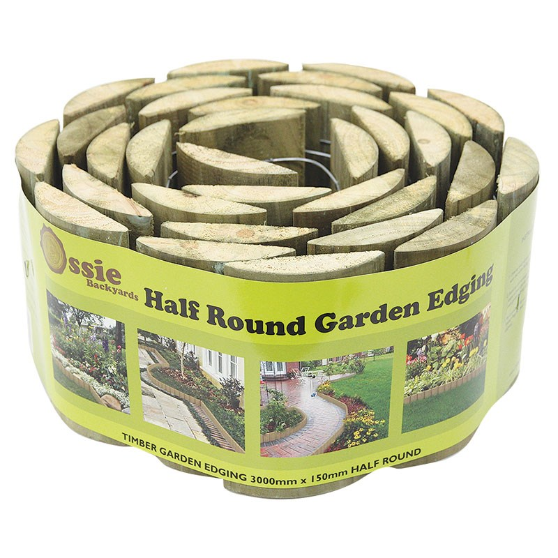 Circular Lawn Edging: Half Round Garden Timber Edging 150mm X 3m Roll